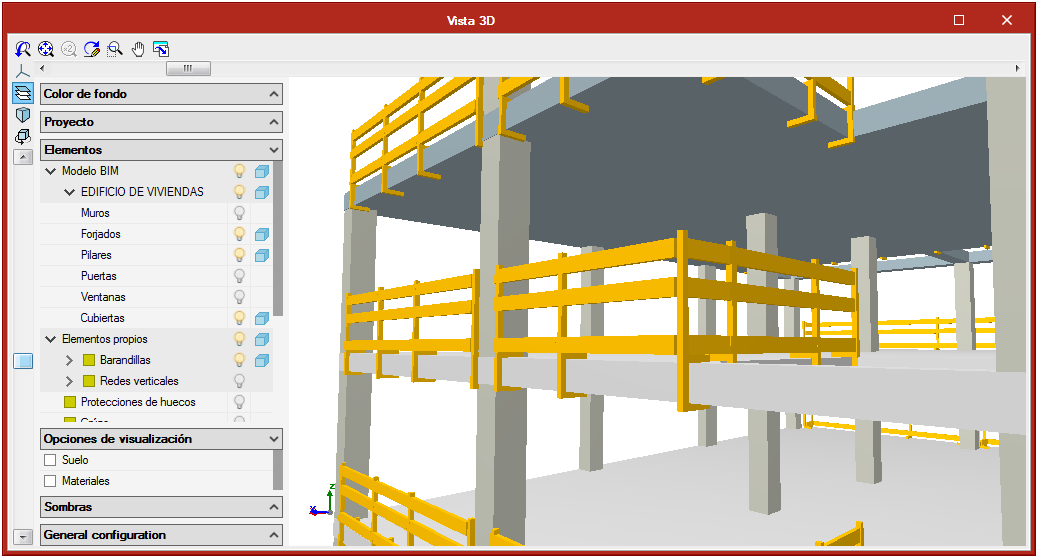 Open BIM Health and Safety. Collective protection systems. Railings and railing supports