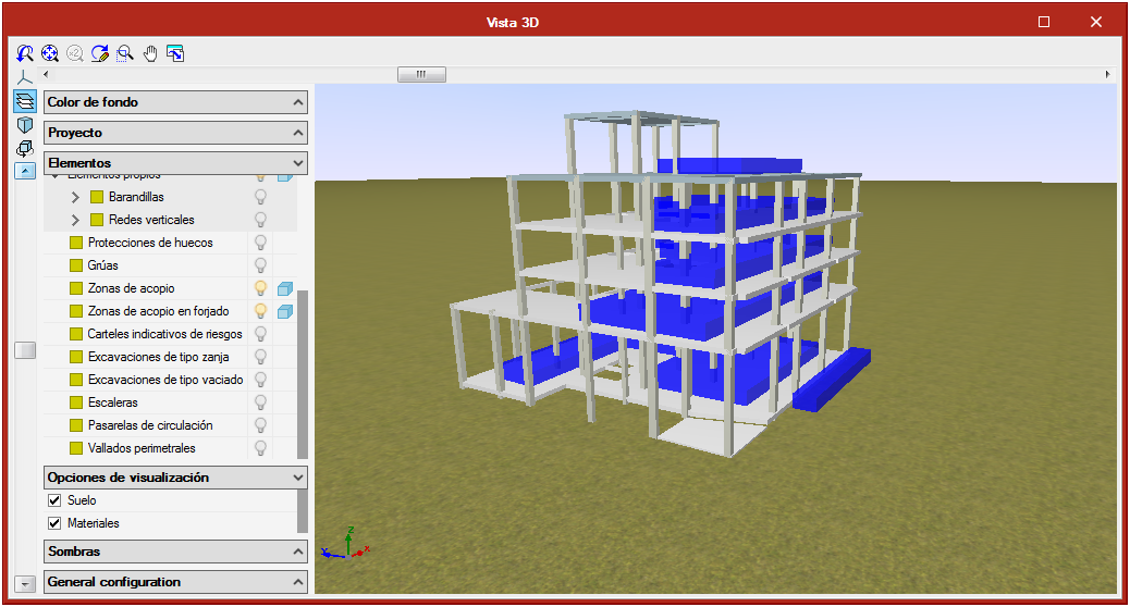 Open BIM Health and Safety. Collective protection systems. Storage zones