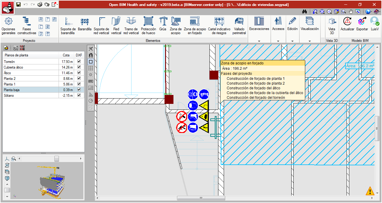 Open BIM Health and Safety. Collective protection systems. Risk indicator signs